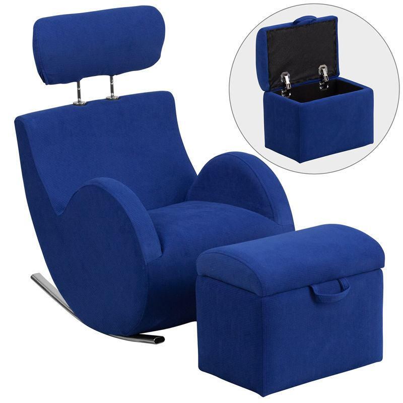 Hercules series blue fabric rocking chair with storage