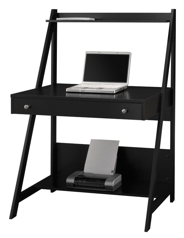Amazon Com Bush Furniture Myspace Collection Ladder Desk Classic Black Home Kitchen Ladder Desk Desk Furniture