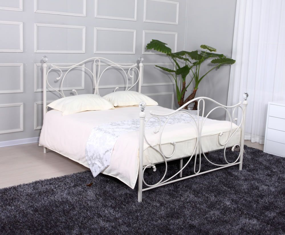 Empoli White Metal Bed Frame White Metal Bed Bed Frame