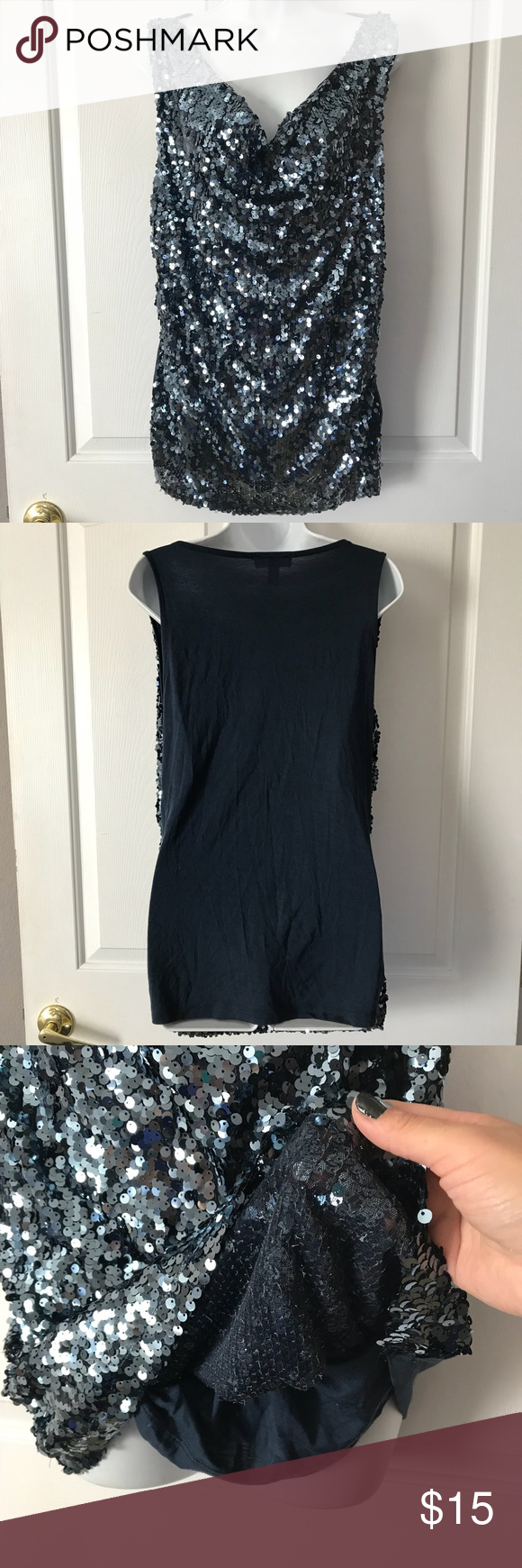 Festive New Year's XL Blue Sequin tank top Dress Barn XL blue sequined tank top. The top is stretchy, very sparkly and blingy. Great for that festive holiday party or New Year's Eve. Dress Barn Tops Tank Tops