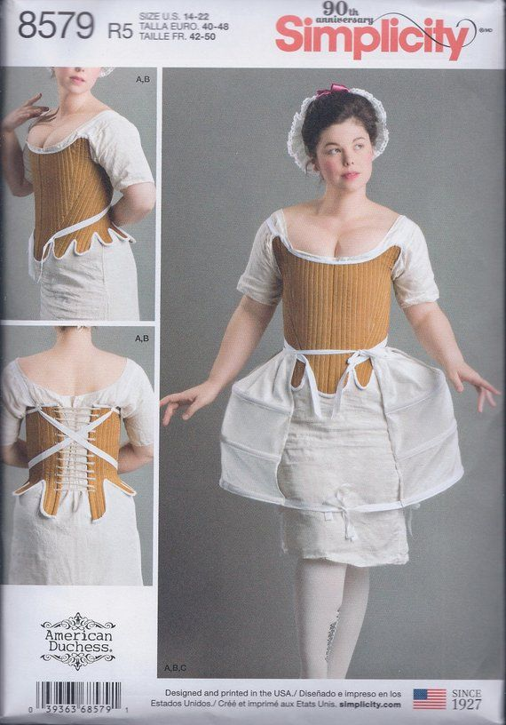 bf1b18627b Simplicity 8579 Misses 18th Century Undergarments Shift Chemise Corset  Panniers UNCUT Sewing Pattern