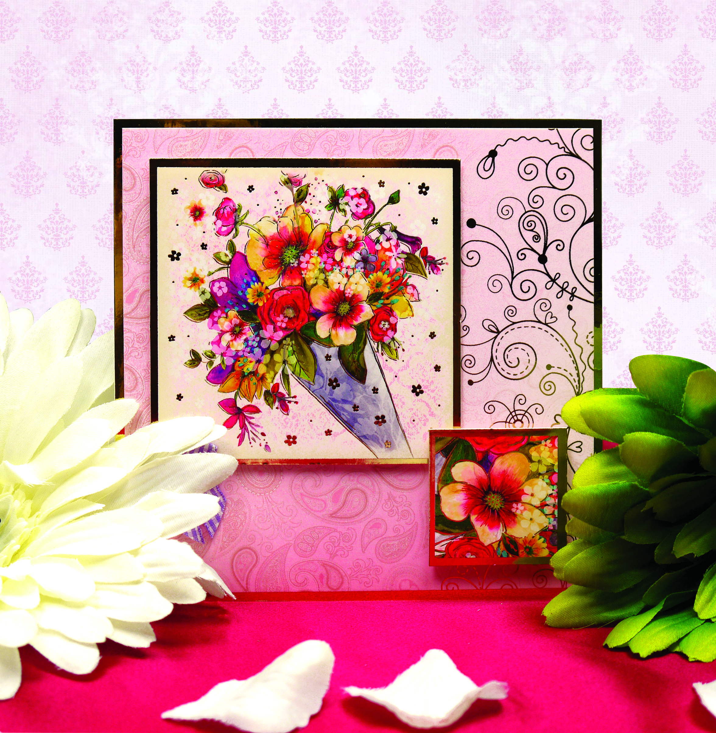 a beautiful bouquet of flowers greeting card handmade