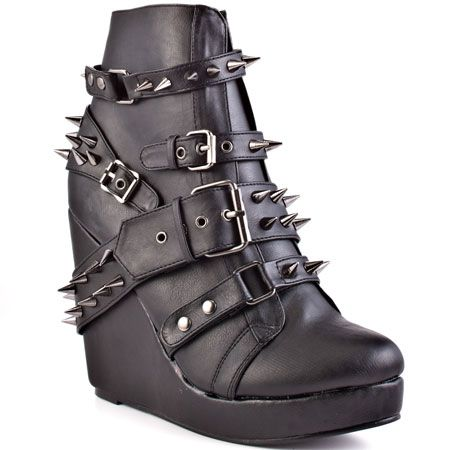 Abbey Dawn   109 Studded Wedge - Black. I like those but idk if i could walk in them!