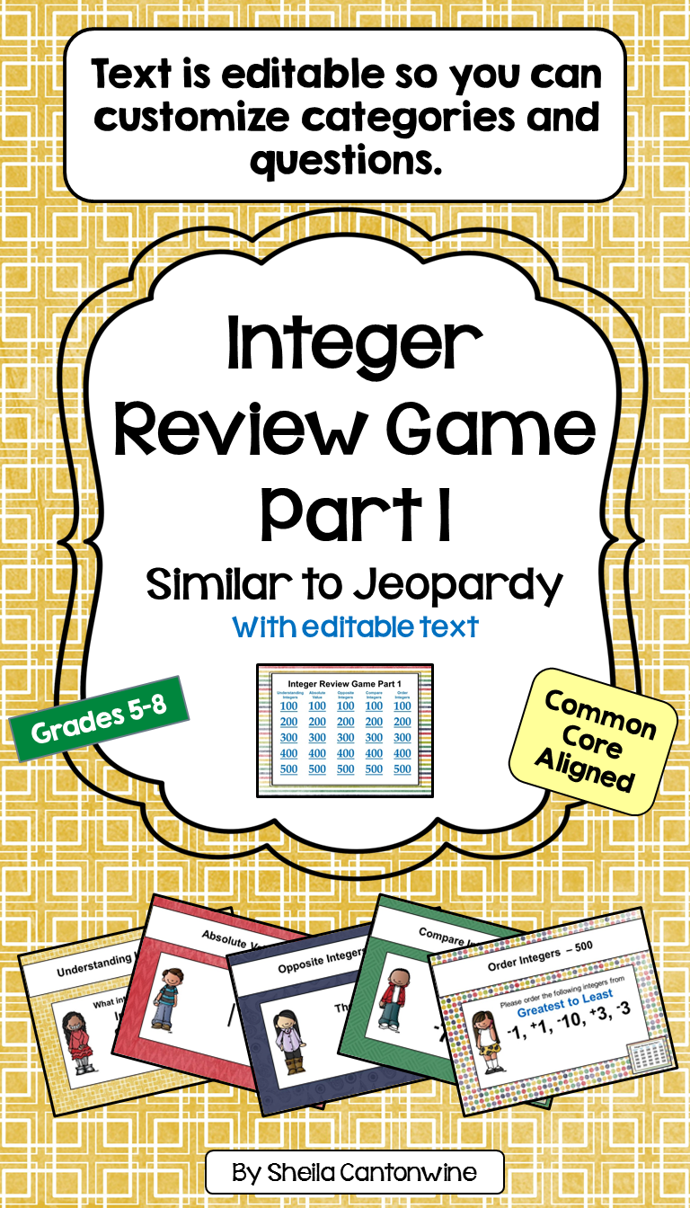 Integer Game 1 Similar to Jeopardy Fractions review game