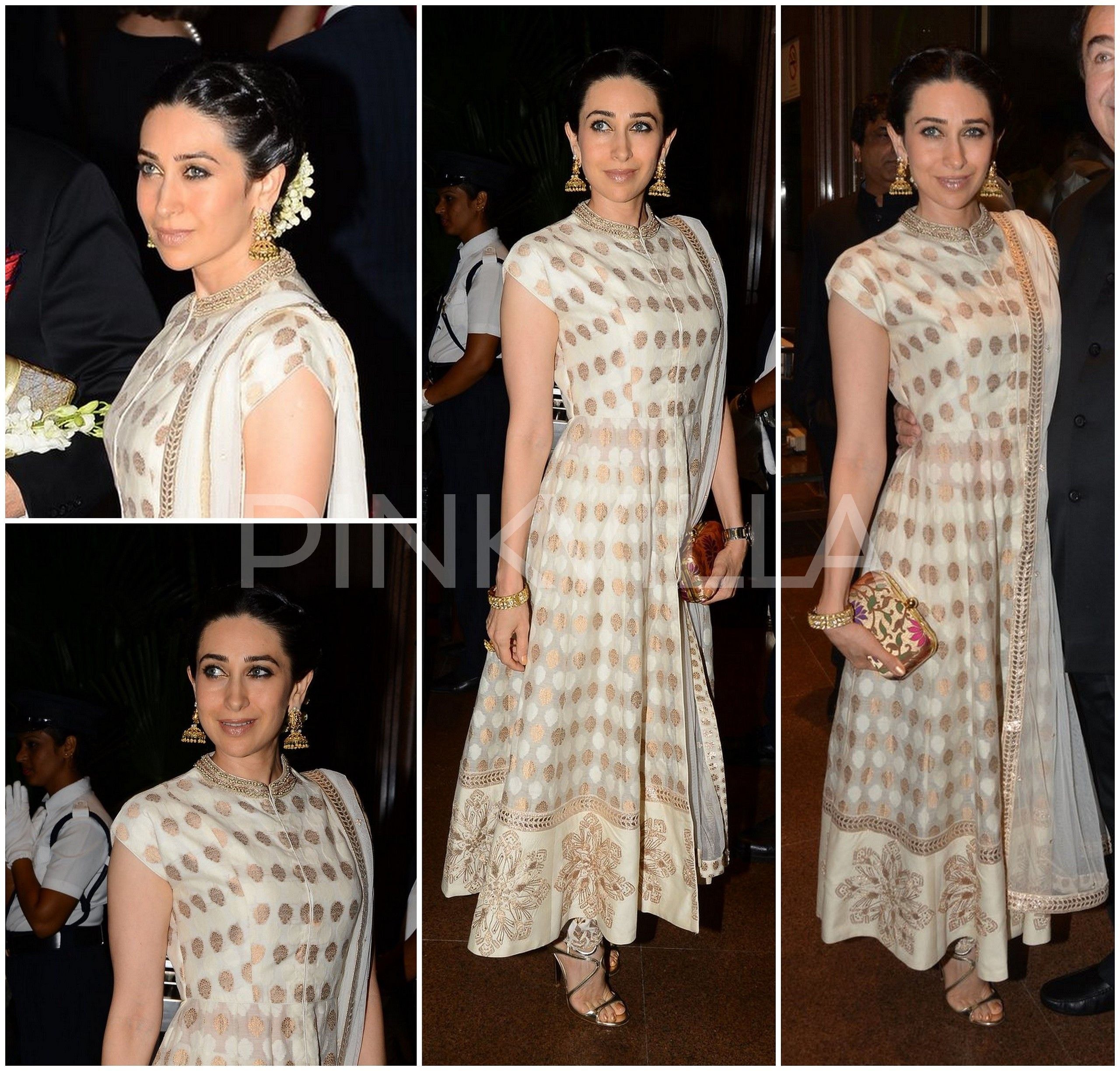 Yay Or Nay Karisma Kapoor In Anita Dongre Dress Pinterest Elegant Fashion Clutch Cream Kept It Simple And A Gold Anarkali By For Arpita Aayush Wedding Reception