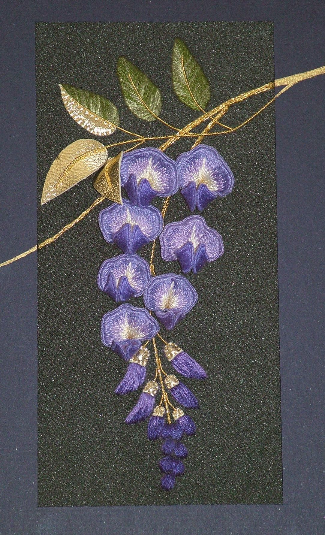 Stumpwork embroidery wysteria nakıştan çiçekli pano pinterest