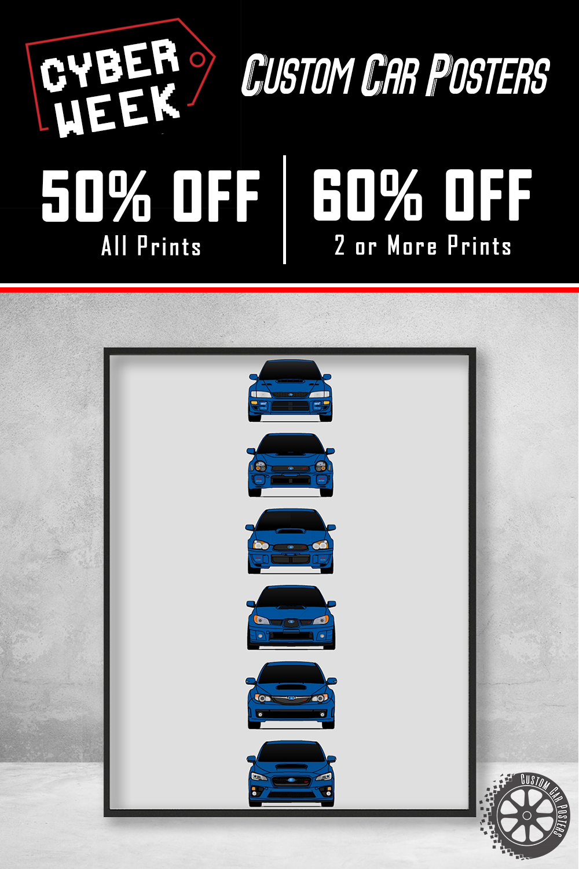 Subaru WRX Poster Print Wall Art of the History and Evolution of the Impreza WRX