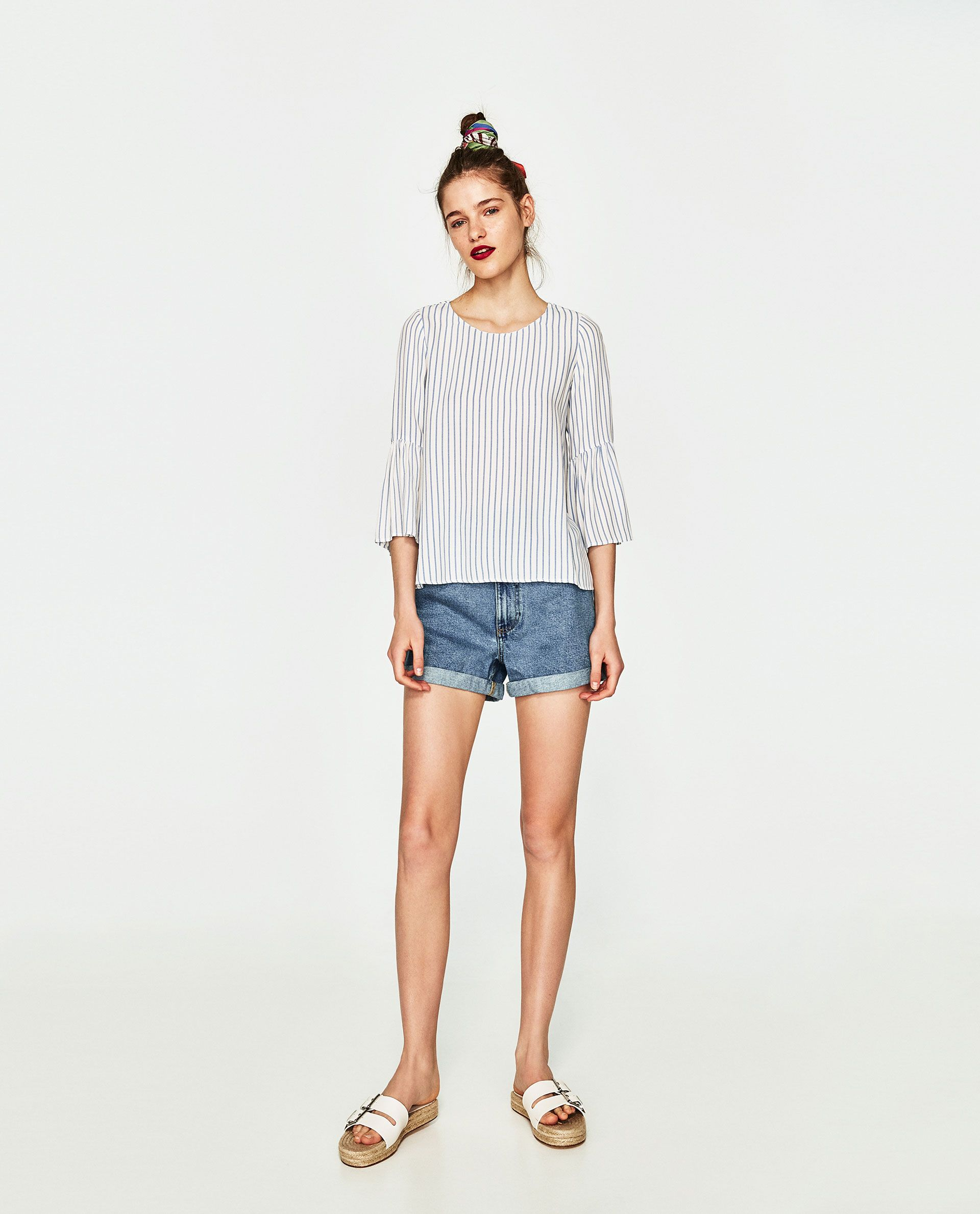 ed07ba29 CUERPO RAYAS MANGA VOLANTE   Summer 2017   Diseños de blusa ...