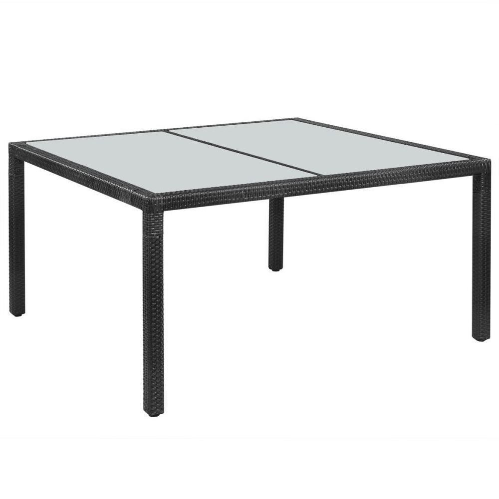 Rattan Dining Table Black Colour Steel Frame Glass Top Outdoor Garden Furniture Dining Table Patio Table Outdoor Dining Furniture