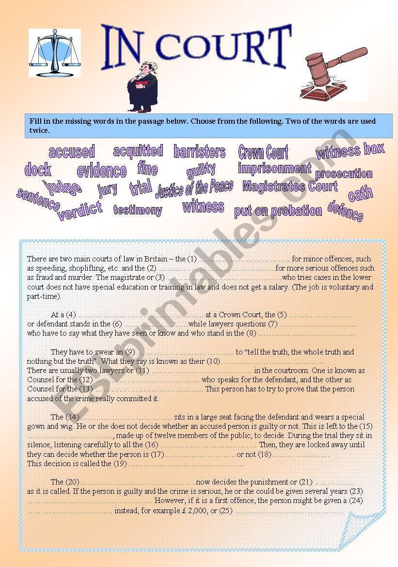 Law And Justice Esl Worksheet By Lunama In 2020 Law And Justice Teaching Laws Writing A Book