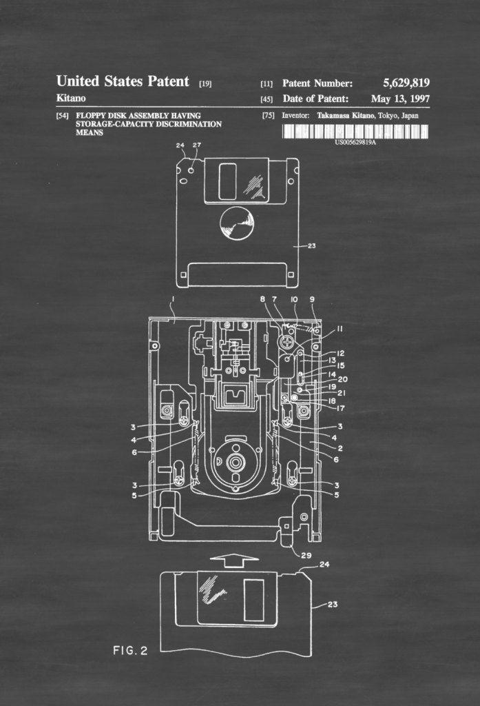 3,5-Zoll-Diskettenpatent - Patentdruck, Wanddekoration, Computerdekor, Vintage-Computer, Computerpatent, Geek-Geschenk, Technologiepatent