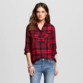 Women's Cargo Patch Plaid Shirt - K by Kersh : Target