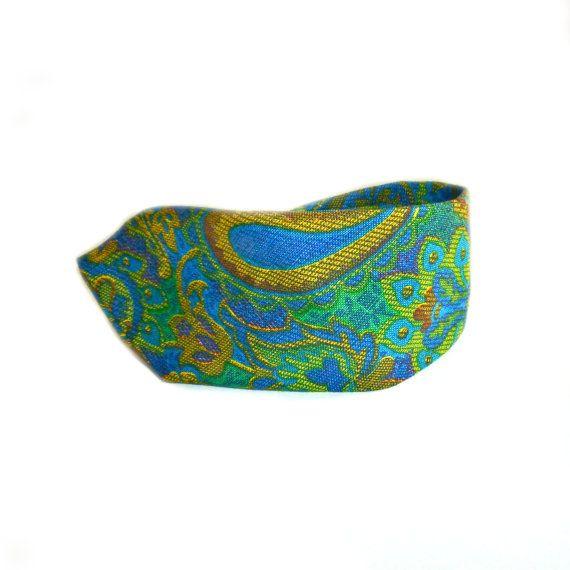 Vintage Tie Paisley Green Blue Print Men's Accessories Necktie 1960s 1970s Yellow Psychedelic Printed Skinny
