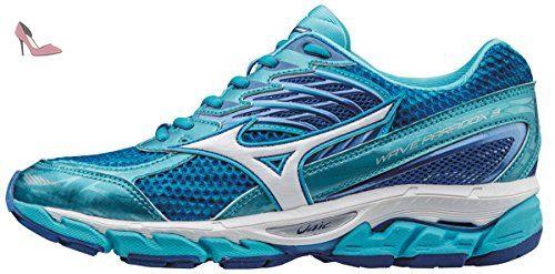 Mizuno Wave Rider 19, Chaussures de Running Compétition Femme - Bleu - Blue (Palace Blue/Silver/Diva Pink), 38 EU