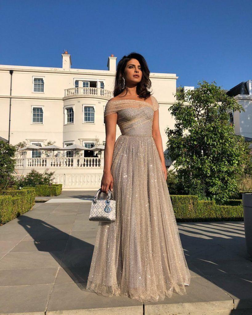 e7edfb24fd67 Priyanka Chopra In Christian Dior   Royal Wedding Reception ...