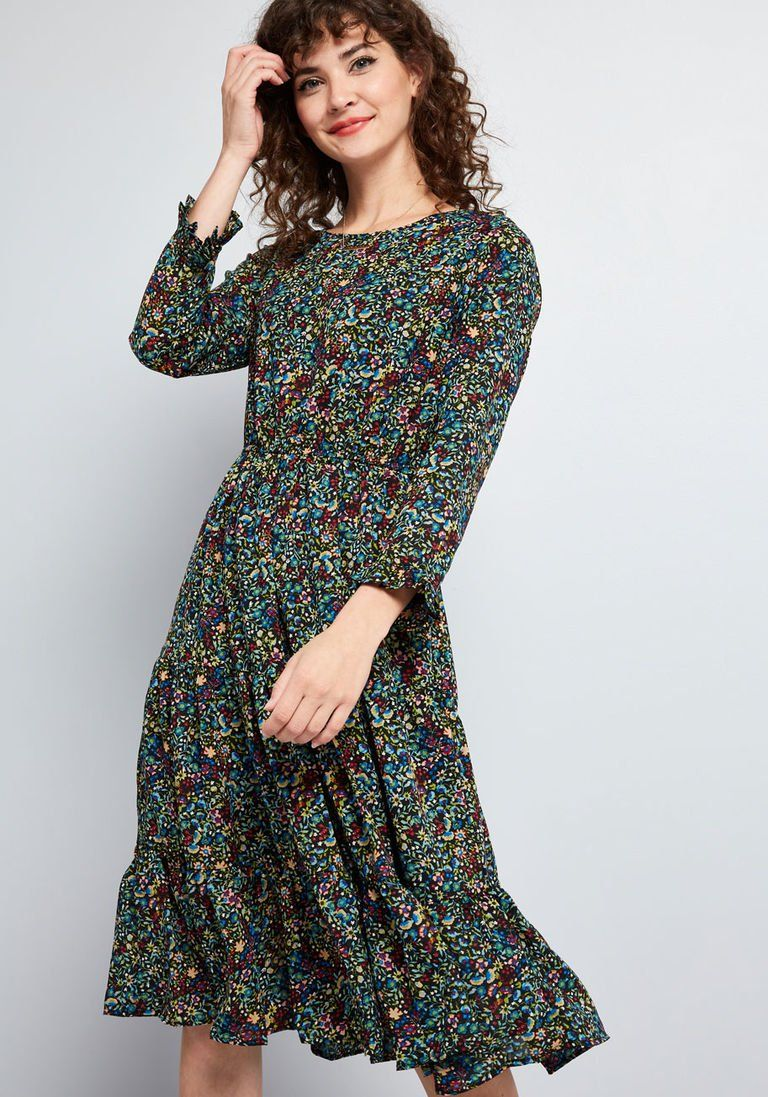 25b6a7632f Ruffled Refresh Floral Dress in 1X - A-line Midi by Compania Fantastica  from ModCloth