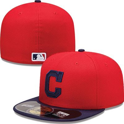 Cleveland Indians New Era Mlb Diamond Tech 5950 Fitted Hat Red Flat Bill Hats Fitted Hats Cleveland Indians Hat