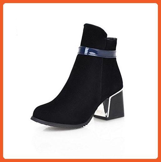Women's Blend Materials Low-top Solid Zipper Kitten-Heels Boots