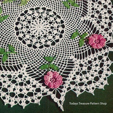 Crocheted Rose Doily Pattern With Shell Border Pinterest Crochet