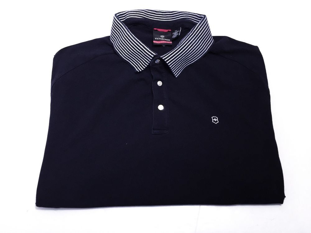 Victorinox XL Men's Navy Blue Short Sleeve Snap Button Polo Swiss Army Knife #Victorinox #PoloRugby