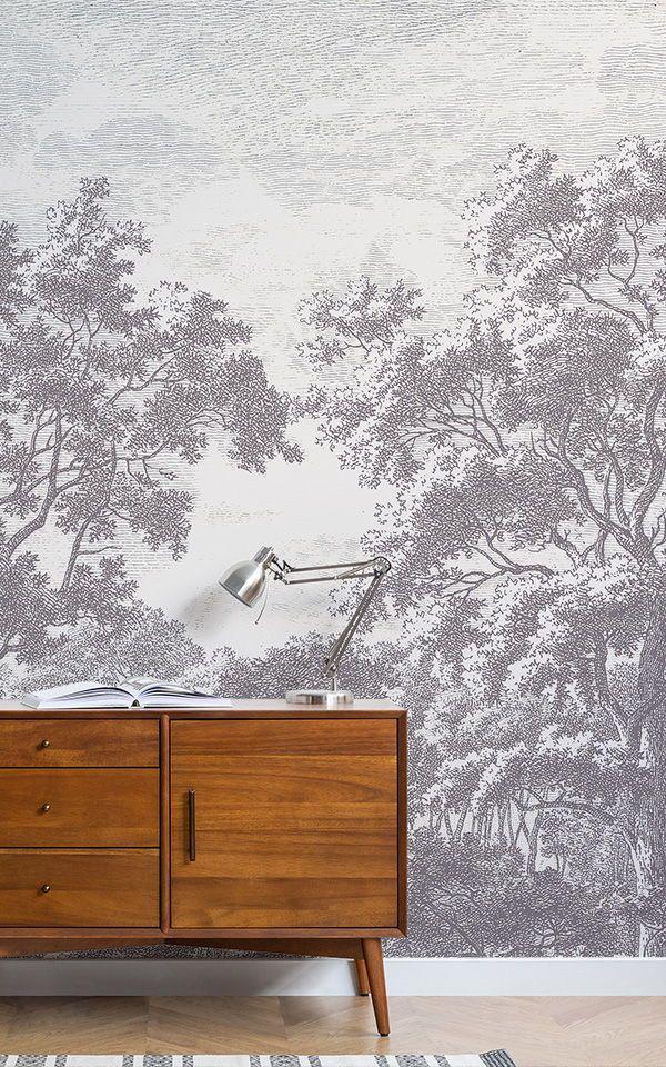 Tree Design Wallpaper Living Room: Papel Pintado Con Árboles Grises En Aguafuerte