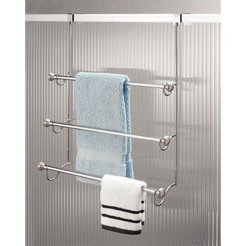 Interdesign York Metal Over The Door 3 Bar Towel Rack Brushed Stainless Steel Silver Towel Rack Towel Rack Bathroom Shower Doors