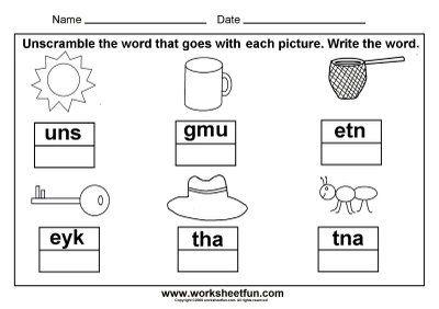 3 letter words   picture unscramble | school | Preschool lessons