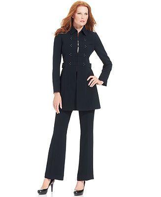 Tahari by ASL Suit, Long Military Jacket & Pants - Suits & Suit ...