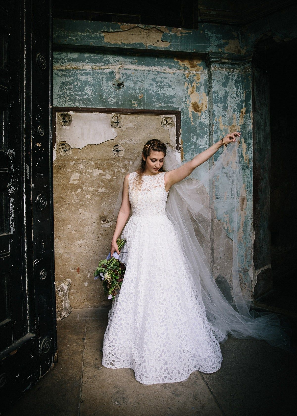 Bride wears an Amsale Dress for an Antique London Inspired Wedding. Images by Eclection Photography
