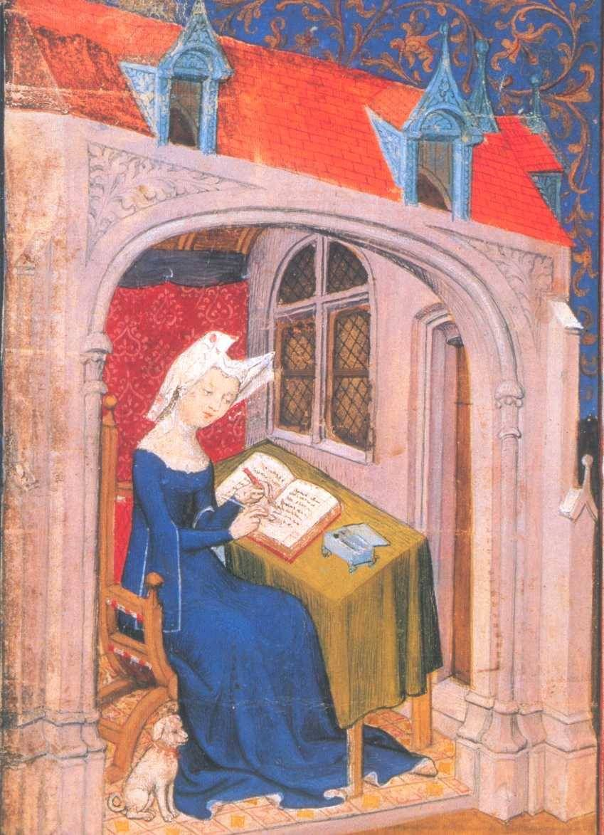 Christine De Pizan In Her Cell Or Study Illustration Accompanies The Cent Ballades In The Queen S Manuscr Medieval Art Late Middle Ages Medieval Manuscript