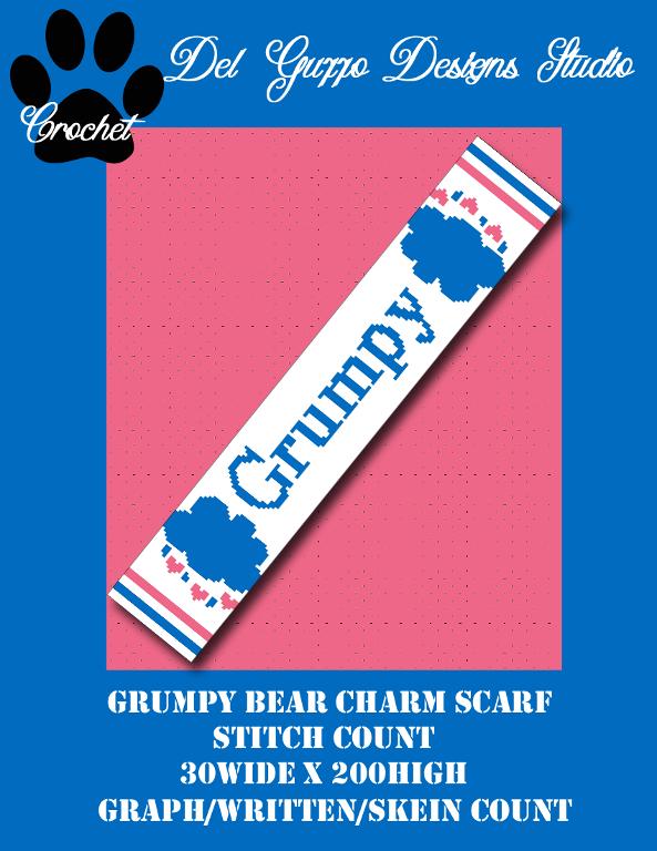 (4) Name: 'Crocheting : Care Bears Grumpy Bear 30x200 Scarf
