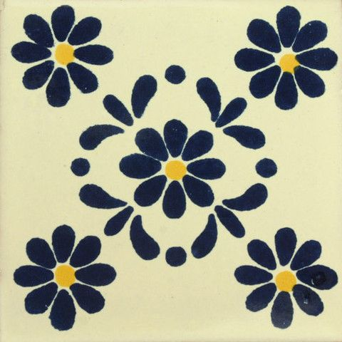 Decorative Mexican Tile Roberta Floral Pattern