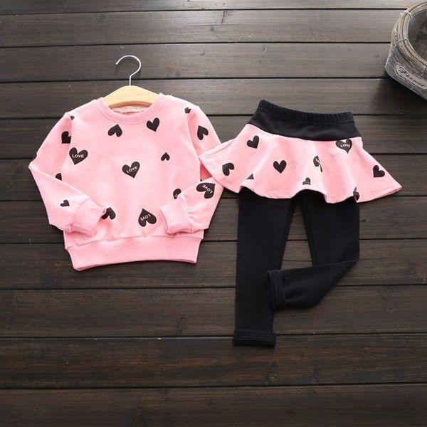 Baby Kids Girls Heart Printed Long Sleeve Sweatshirt & Leggings Set
