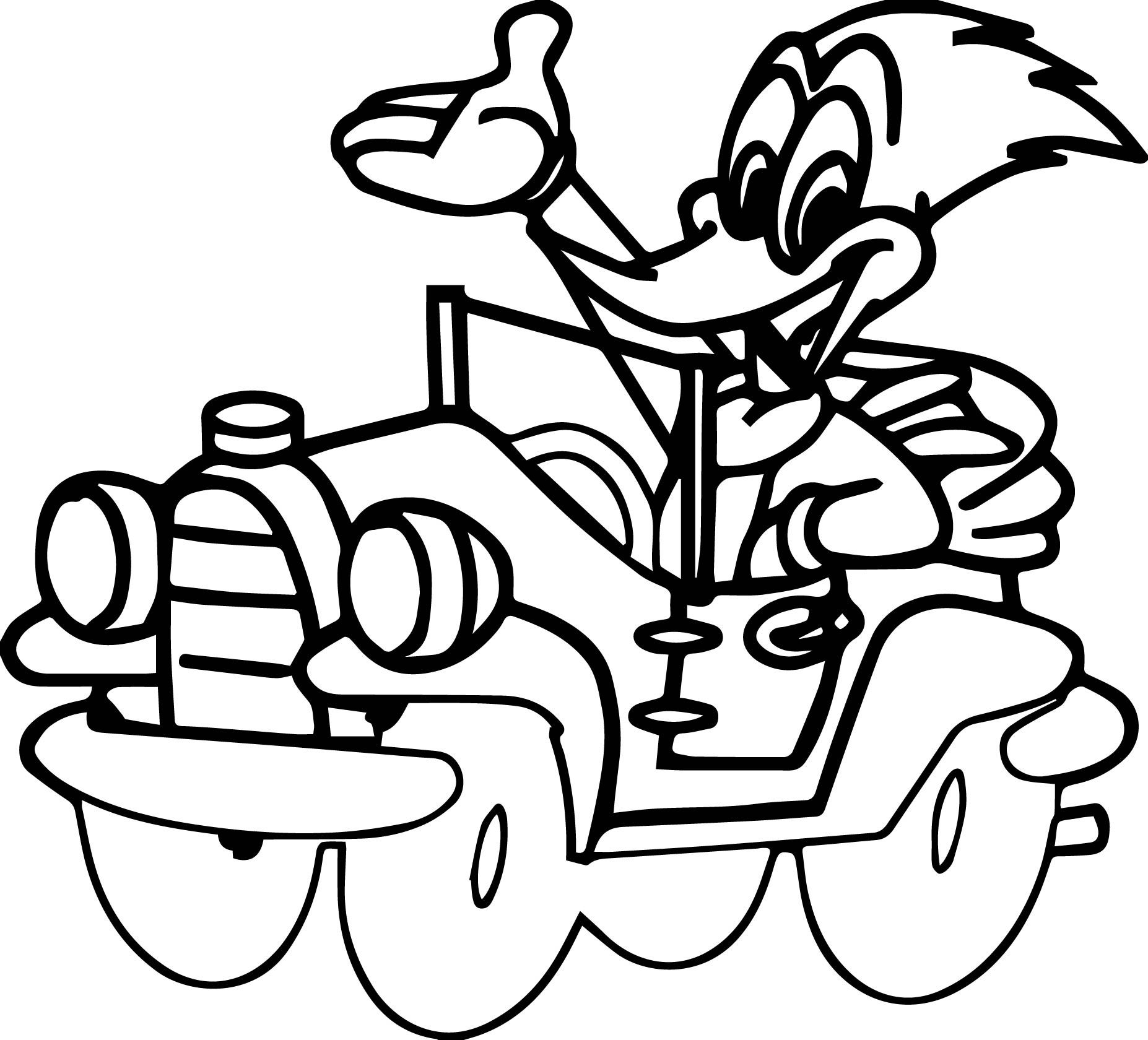 cool Woody Woodpecker Drive A Car Coloring Page Cars