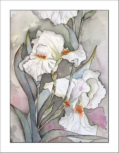 Original White Iris Watercolor Painting, Paintings of Irises