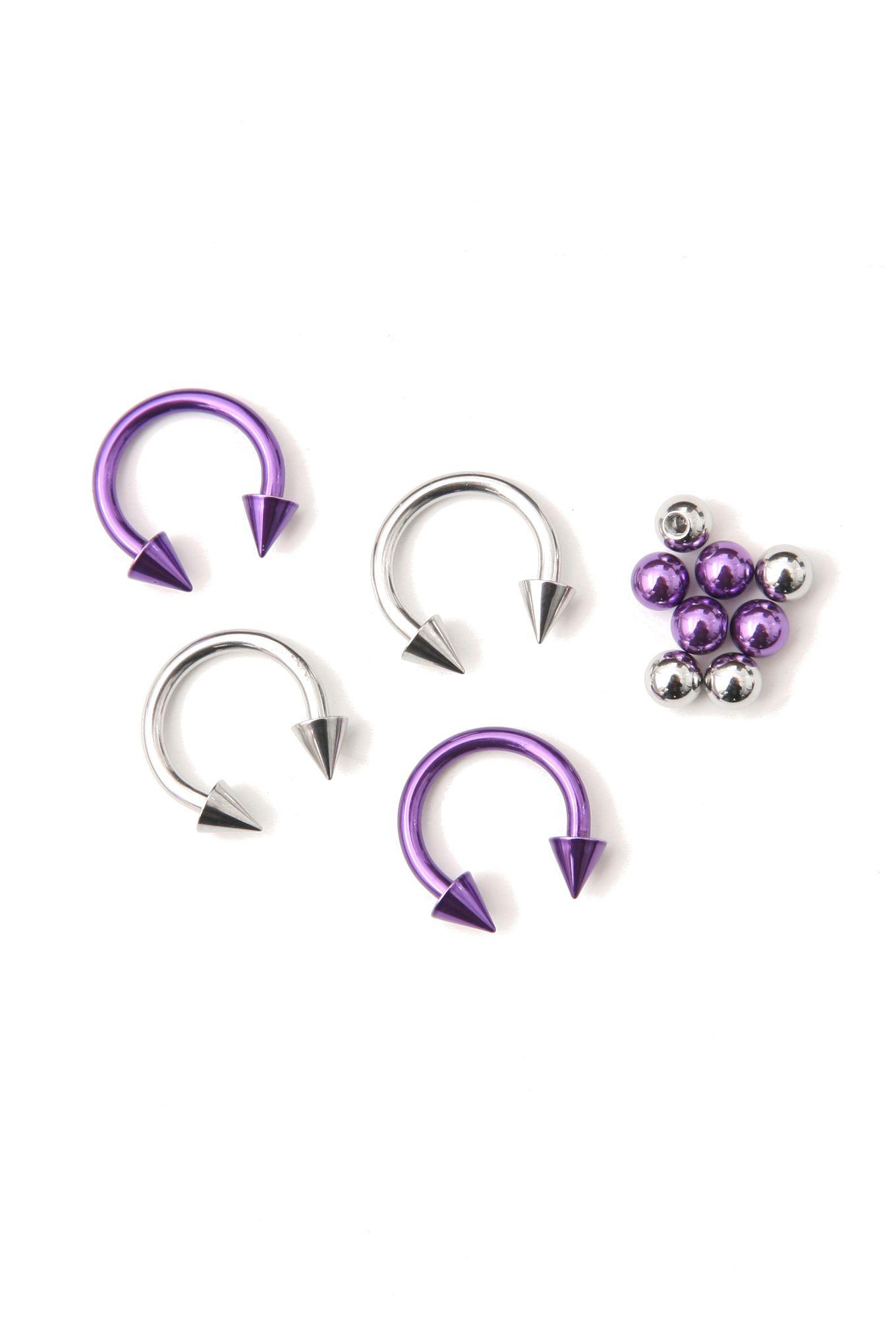 Purple Silver 3 8 Diameter Steel Circular Barbell 4 Pack Silver Circle Earrings Purple Earrings Body Jewelry