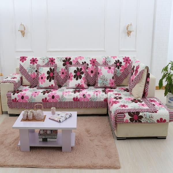 Cute Pink And Grey Flowers Print Slip Resistant Home Decoration Sofa Covers Sofa Decor Sofa Covers Sofa Set Designs