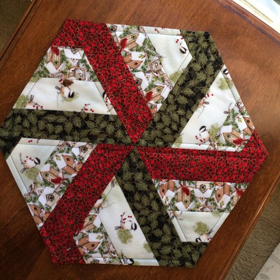 Winter Birds & Bird houses Quilted Hexagon Table Runner, Candle Mat, Table Topper - reversible #birdfabric