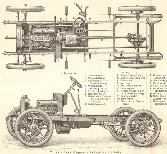 1905 Original Antique Engraving Of Automobiles Automobile Parts