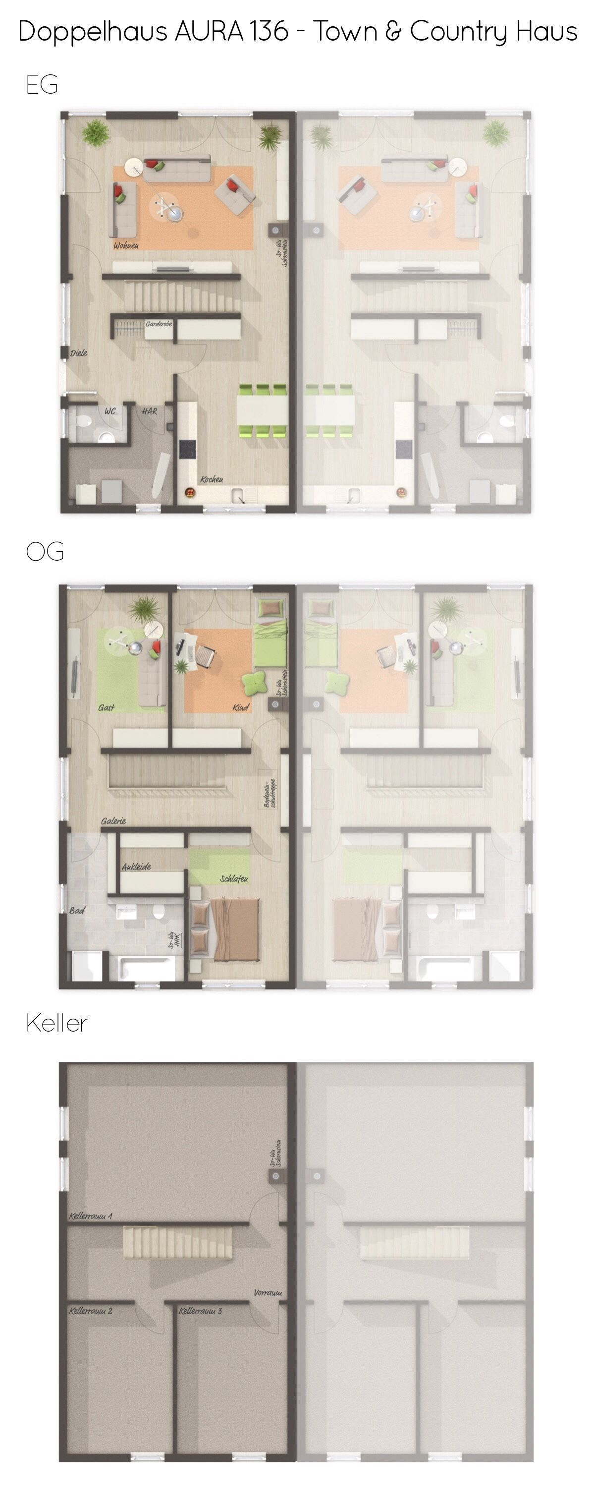 Semidetached house AURA 136 modern with clinker facade  Town  Country House  direct construction Floor plan semidetached house narrow with basement  straight staircase  4...