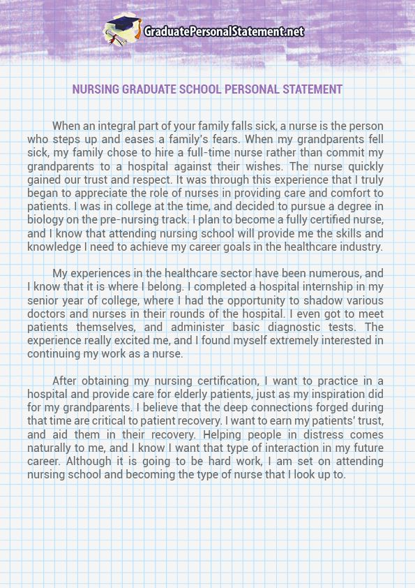 Nursing Graduate School Personal Statement Sample