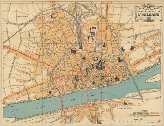 Old Map Vieille Carte Plan Dorleans Old City Plan Reproduction - Orleans france map