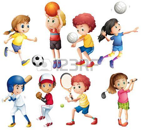 Ilustracao De Muitas Criancas Praticando Esportes Deportes De Ninos Imagenes De Deportes Deportes Dibujos