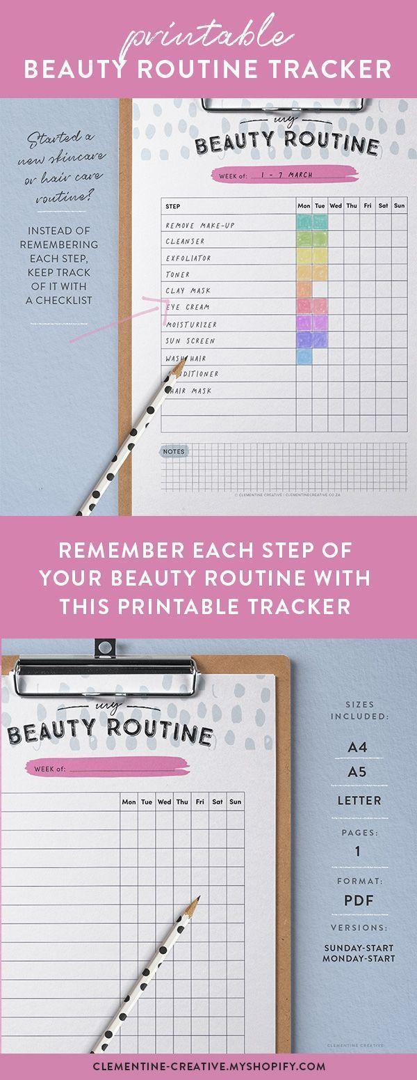 Eine neue Hautpflege- oder Haarpflege-Routine gestartet? Mit diesem druckbaren Beauty-Tracker behalten Sie den Überblick. Anstatt sich an jeden Schritt zu erinnern, können Sie ihn mit einer praktischen Checkliste nachverfolgen. Und seien wir ehrlich - manchmal ist es einfach zu vergessen, 2-3 Mal pro Woche eine Gesichtsmaske aufzusetzen... #beauty routine checklist #beauty routine daily #beauty routine schedule #beauty routine skincare #beauty routine weekly #BeautyRoutineTracker #Druckbare