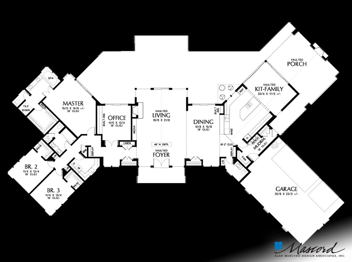Main Floor Plan of Mascord Plan 1343 - The Dandridge - The Richness ...