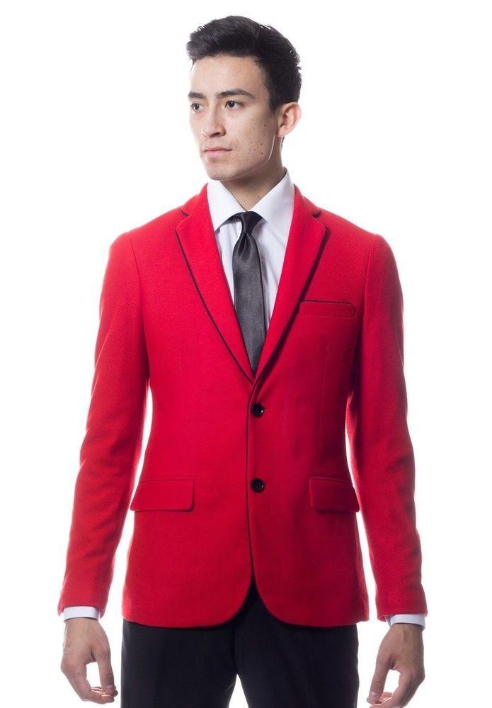 Zonettie by Ferrecci Mens Premium Red Knit Blazer Suit Jacket Slim ...