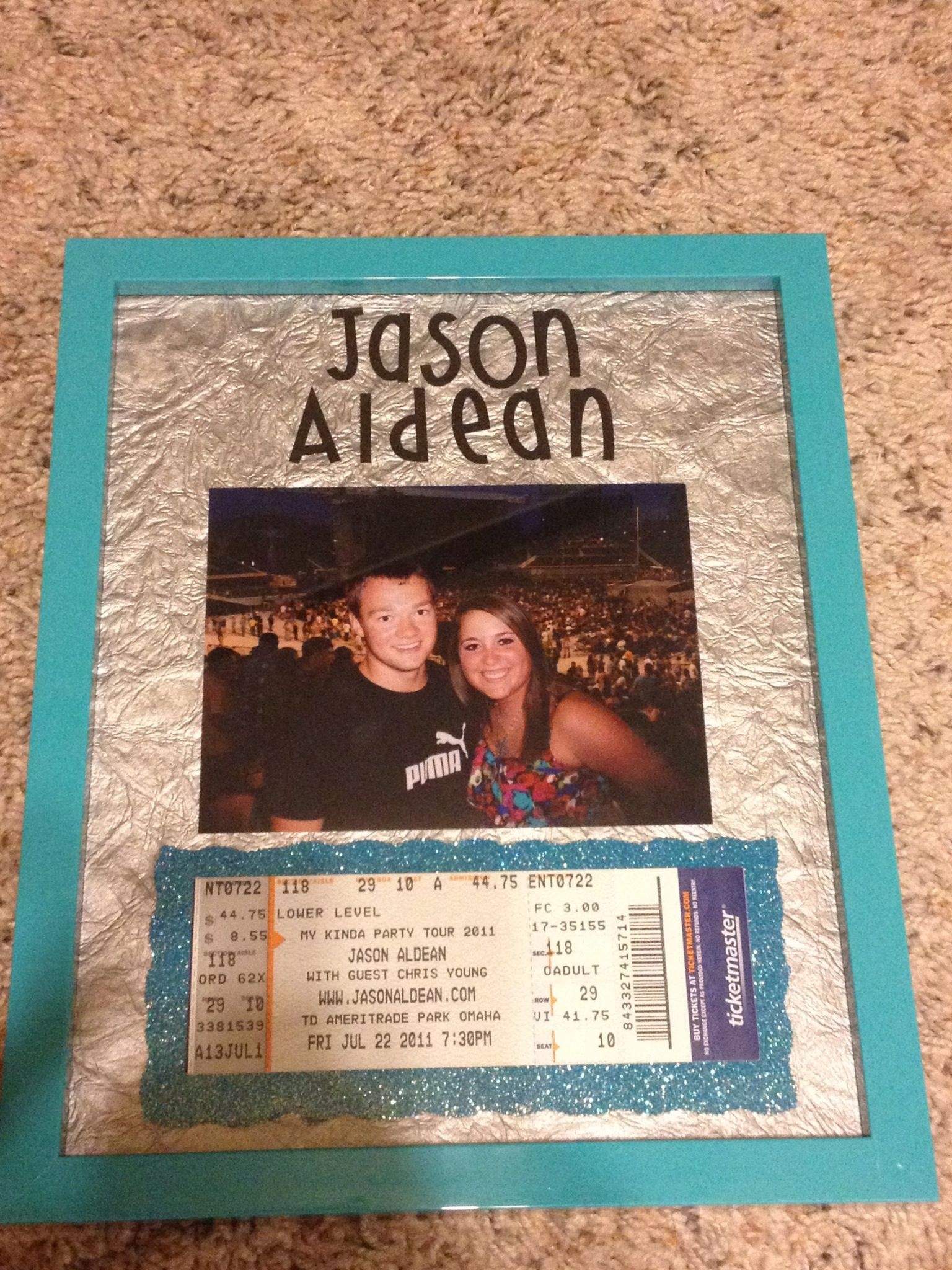 8x10 Picture Frame With A 4x53 Picture And Concert Ticket Great