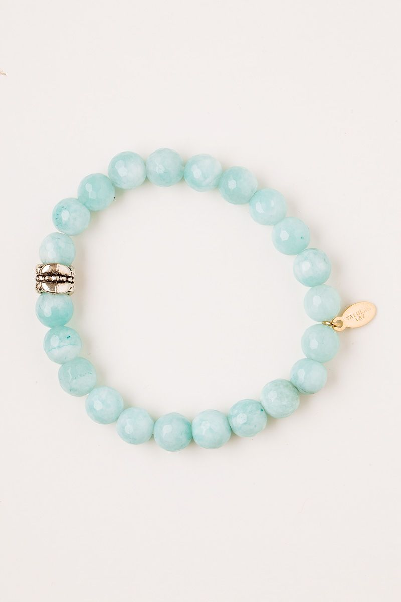 #BlueJade Beaded Bracelet on Cord - 14K Gold www.talulahlee.com #jadebracelet