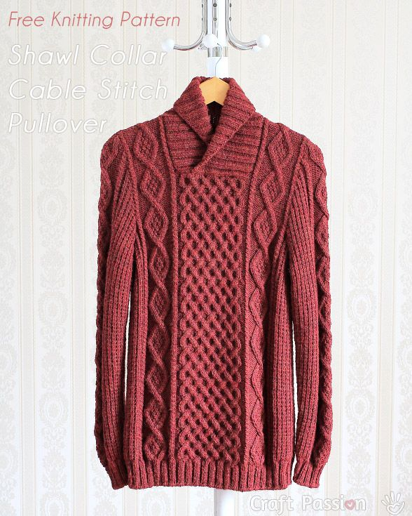 db453c4c6 Shawl Collar Cable Pullover - Free Knitting Pattern
