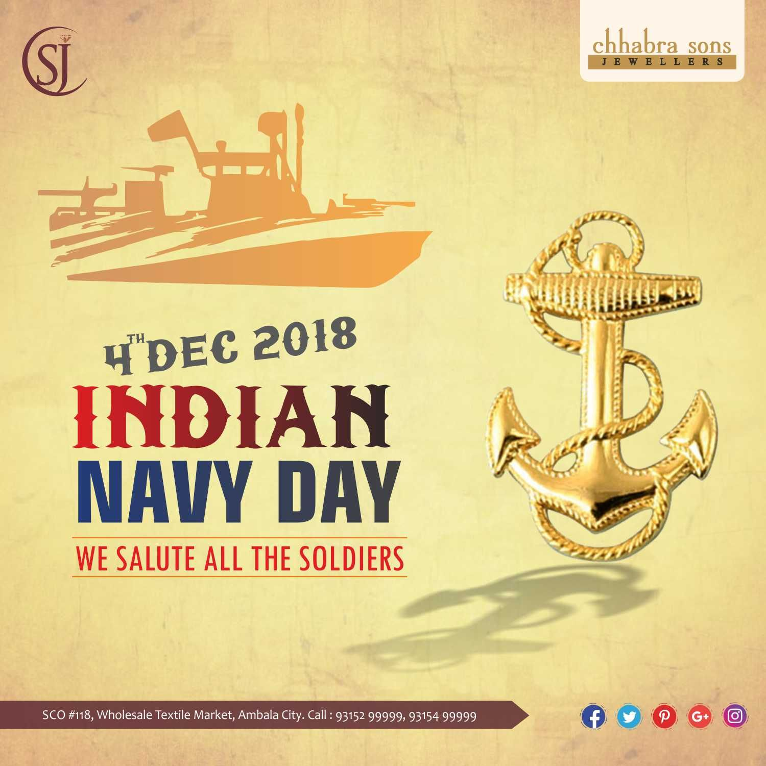 Indian Navy Day We Salute All The Soldiers Indiannavyday Navyday Chhabrasons Chhabrajeweller Csj Ambala Jewel Navy Day Indian Navy Day Indian Navy